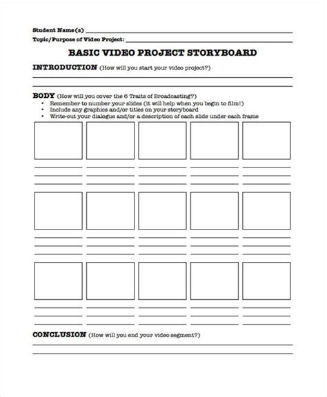 Project Storyboard Templates - 6+ Free Word, PDF, Format