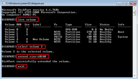 Diskpart to Resize NTFS/FAT Boot Partition in Windows 7