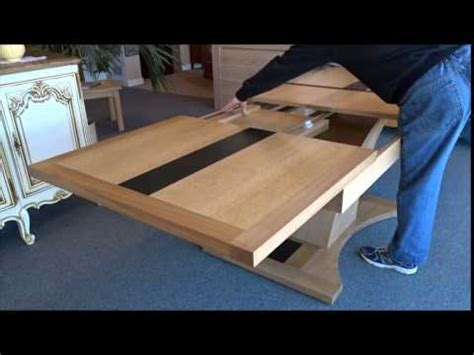 table chene pied central allonges papillon - YouTube