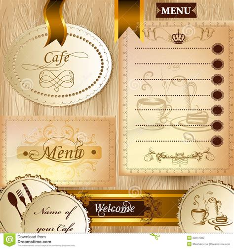 Collection Of Business Elements For Cafe And Menu Design