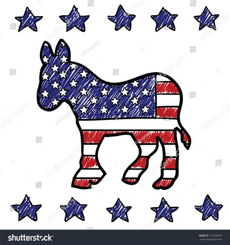 Doodle Style Democratic Party Donkey Symbol Stock Vector