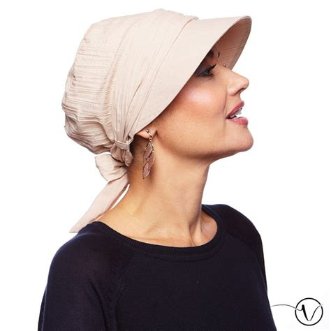 Anna Crinkled Cotton Chemo Hat - Beige | Oncovia