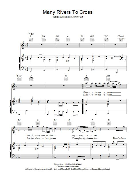 Many Rivers To Cross sheet music by Jimmy Cliff (Piano