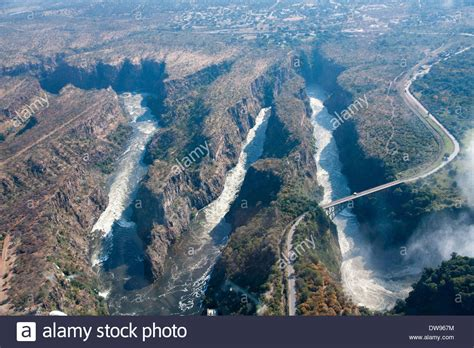 Aerial view, gorge with the Victoria Falls Bridge over the