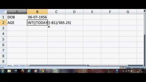 How to calculate age from date of birth in excel 2007 or